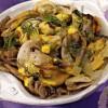 Мидии с грибами под соусом
