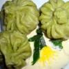 Зелёные пельмени с шампиньонами